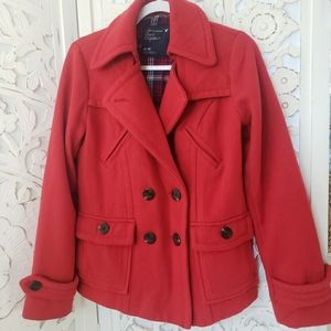 American Eagle Red Wool Blend Peacoat Size M